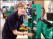 Apprentice Luke Warburton at US firm Cummins' engineering plant, Ramsgate, Kent