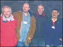 Four Irish Ferries crew members with Gary Jones (far right)