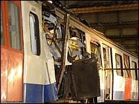 Tube train damaged in the 7 July bombings