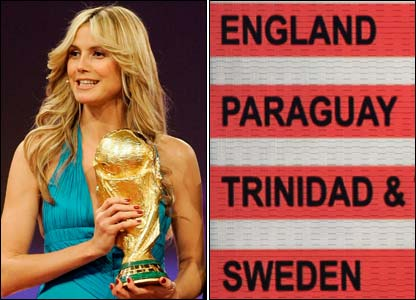 Model Heidi Klum holds the World Cup and England's World Cup draw is displayed on a big screen