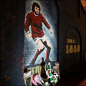 A mural of Manchester United and Northern Ireland winger George Best