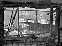The remnants of the stand that burned down at Valley Parade
