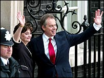 Tony and Cherie Blair outside No 10 after the election win