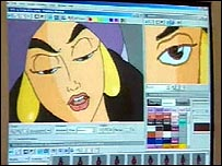 Animation being created on computer screen