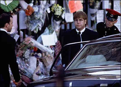 Sir Elton John arriving at Princess Diana's funeral at Westminster Abbey in 1997