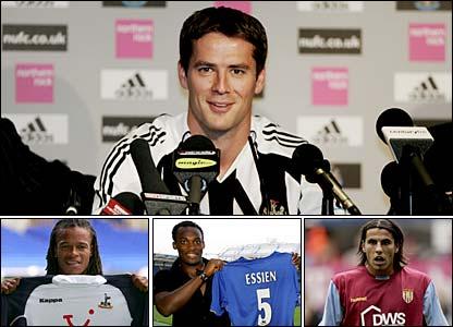 (Clockwise left to right) Newcastle's Michael Owen Aston Villa's Milan Baros, Chelsea's Michael Essien and Tottenham's Edgar Davids