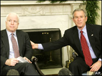 Senator John McCain (left) and President George W Bush