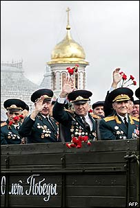 Soviet veterans in the parade on Red Square