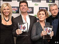 (from left) X Factor's Kate Thornton, Simon Cowell, Sharon Osbourne and Louis Walsh
