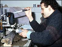 Martin Sander sampling dinosaur bones with a core drill. (Photograph E Premru)