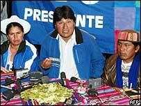 Evo Morales y cocaleros