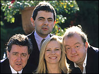 [L-R] Griff Rhys Jones, Rowan Atkinson, Pamela Stephenson, and Mel Smith