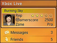 Xbox 360 gamer card