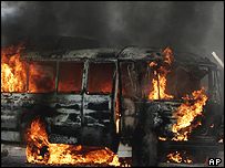 Bus set on fire by Tuesday's blast in Baghdad