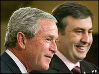 George W Bush and Mikhail Saakashvili