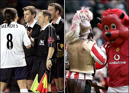 Pedro Mendes argues with referee Mark Clattenburg and The Exeter City and Man Utd mascots square up to each other