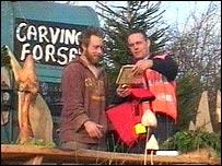 Dan Treadwell with postman Brian Groves