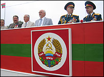 The leaders of Trans-Dniester gather to watch Independence Day celebrations