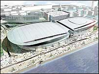 Artist's impression of Kings Dock waterfront arena, Liverpool