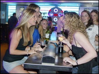 Group of women drinking in a bar