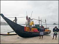 Fishing boat in Weligama