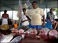 Fish seller Jayanta Gamage