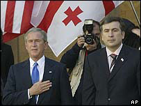 US President George W Bush and Georgian President Mikhail Saakashvili in Tbilisi, 10 May 2005