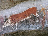 San painting of an eland on a cave wall in Drakensberg, South Africa, BBC