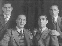 "James Cox and his surviving children (L-R: James Leonard ""Len"", James Llewellyn, Donald Malvern and Thomas Leslie Cox)"