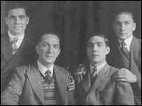 "James Cox and his surviving children (L-R: James Leonard ""Len"", James Llewellyn, Donald Malvern and Thomas Leslie Cox)"