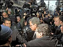 Orhan leaves court (centre) in Istanbul
