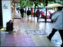 Woman begging in the streets of Sofia