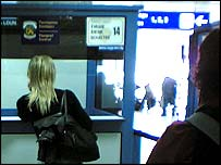 Young women going through customs at Sofia airport