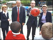 Education team: Beverley Hughes, Bill Rammell, Andrew Adonis and Ruth Kelly at a play centre in Camden, London