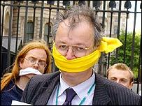 Lib Dem MP John Hemming with protesters