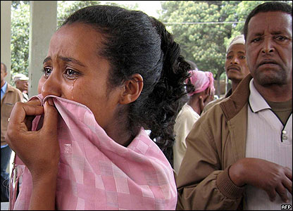 Woman cries at an Ethiopian hospital