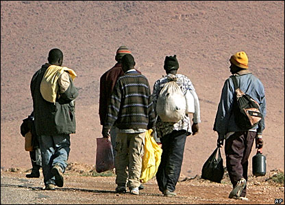 Migrants walking in Morocco