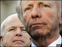 Senator John McCain, Republican (left) and Senator Joe Lieberman, Democrat