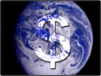 Picture of earth from space, with a dollar sign superimposed