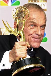 John Spencer displays his Emmy for outstanding supporting actor in 2002