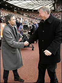 Sir Alex Ferguson (left) and Jose Mourinho greet each other before the clash at Old Trafford