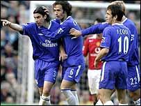Chelsea celebrate Tiago's (l) goal