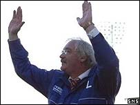Jim Leishman greets the fans after victory over Dundee