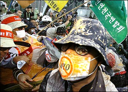 Anti-WTO protesters in Hong Kong