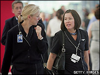United Airline attendants