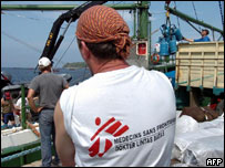 A member of Medecins Sans Frontieres at a port in Banda Aceh, 06 January 2005