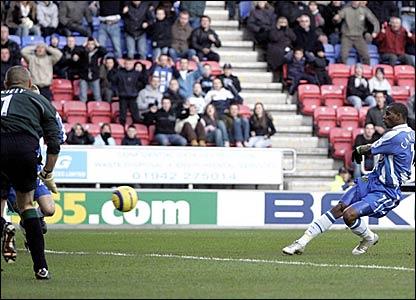 Henri Camara scores for Wigan