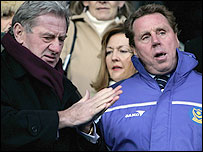 Harry Redknapp (right) takes his place in the Pompey directors' box