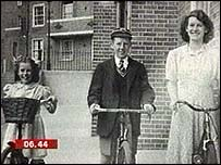 Joan Styon's family outside their home in Clapham Junction