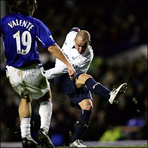 Stelios Giannakopoulos scores his second and Bolton's fourth goal at Everton